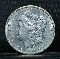 1887-S MORGAN SILVER DOLLAR  AU ALMOST UNC DETAILS  $1  DATE TRUSTED