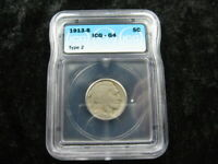OLD GRADED COIN USA BUFFALO 5 CENT NICKEL 1913 S TYPE 2 ICG