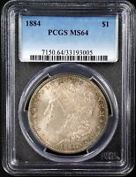 1884 MORGAN SILVER DOLLAR GRADED MINT STATE 64 BY PCGS