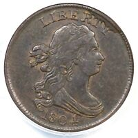 1804 C-9 R-2 ANACS EF 40 CROSSLET 4 W/ STEMS DRAPED BUST HALF CENT COIN 1/2C