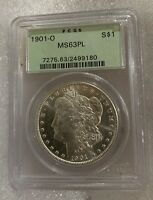 1901 O OGH MORGAN SILVER DOLLAR  BU PCGS MINT STATE 63 PL PROOF LIKE OLD GREEN HOLDER UNC