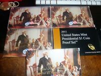 2007 - 2011 US MINT PRESIDENTIAL $1 COIN PROOF SETS - LOT OF 5