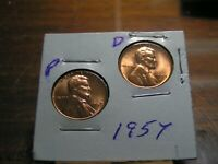 1957 P&D LINCOLN  WHEAT PENNIES  RED BU