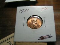 1951 LINCOLN  WHEAT CENT    RED BU COIN