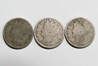 1906, 1907 AND 1911 LIBERTY NICKELS