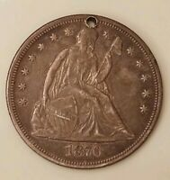 1870-CC SEATED LIBERTY SILVER DOLLAR $1 - EXTRA FINE  DETAIL HOLED - CARSON CITY COIN