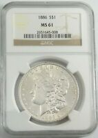 1886 MORGAN SILVER DOLLAR NGC MINT STATE 61 ,GREAT PIECE