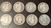 LOT OF 8   BARBER SILVER QUARTERS   LOT 65