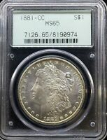 1881 CC MORGAN SILVER DOLLAR MINT STATE 65 PCGS OLD GREEN HOLDER