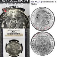 1921 P MORGAN VAM-3V1 DIE BREAK ST IN STATES NGC MINT STATE 65 FINEST KNOWN