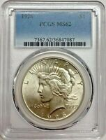 1926 PEACE DOLLAR PCGS MINT STATE 62 SILVER WHITE COIN