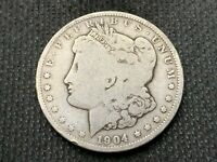 1904-O  MORGAN DOLLAR   VG        3 OR MORE  FREE S/H      90 SILVER   B370