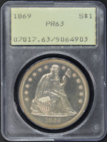 1869 SEATED LIBERTY DOLLAR PR63 PCGS OLD HOLDER GREEN LABEL RATTLER $1 PROOF