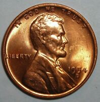 1954 D  LINCOLN WHEAT CENT CHOICE BU RED GEM SHIPS FREE