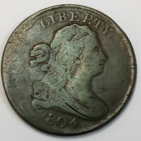 1804 US UNITED STATES DRAPED BUST COPPER HALF CENT PLAIN NO