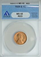 1929 S  LINCOLN WHEAT CENT 1C ANACS  MINT STATE 65 RED  SUPERB PQ   SHIPS FREE