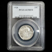 1920 US STANDING LIBERTY SILVER QUARTER 25C PCGS AU58FH TYPE 2 COIN BW3092
