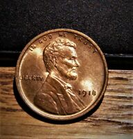 1918-P  LINCOLN CENT SUPER GEM  BU RED GREAT PRICE