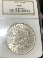 1882 O/S STRONG MORGAN MINT STATE 61 NGC  KEY VARIETY COULD UPGRADE WOW COIN