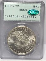 1885-CC MORGAN SILVER DOLLAR PCGS MINT STATE 64 CAC OLD RATTLER & CAC