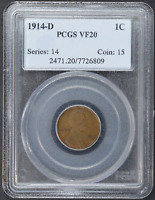 1914-D LINCOLN PENNY PCGS VF20 1C CERTIFIED US COIN COPPER CENT