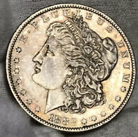 1882-O MORGAN SILVER DOLLAR AU AWESOME COLORS IN TONING LUSTER IPHONE PIC