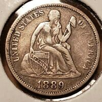 CHOICE 1889 SEATED LIBERTY DIME EF EXTRA FINE
