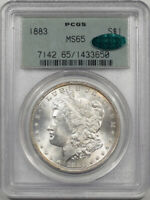 1883 MORGAN DOLLAR PCGS MINT STATE 65 PREMIUM QUALITY OLD GREEN HOLDER CAC APPROVED