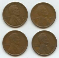 1916-D LINCOLN CENTS FOUR PCS EXTRA FINE  10807 SOME WITH LIGHT ISSUES