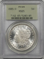 1885-O MORGAN DOLLAR PCGS MINT STATE 65 PREMIUM QUALITY OLD GREEN HOLDER