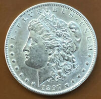 1897-P MORGAN SILVER DOLLAR AU ALMOST UNCIRCULATED ORIGINAL COIN - TCC