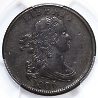 1806 DRAPED BUST 1/2C PCGS CERTIFIED EXTRA FINE 40 C-1 SMALL 6 NO STEMS COPPER HALF CENT