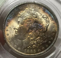 1885-O MORGAN SILVER DOLLAR PCGS MINT STATE 61OLD RATTLERSUPER COOL TONING