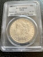 1883-CC $1 MORGAN SILVER DOLLAR, KEY DATE CARSON CITY COIN GSA PCGS MINT STATE 63 N890
