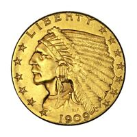 1909 $2 5 GOLD QUARTER EAGLE PHILADELPHIA US LIBERTY HEAD