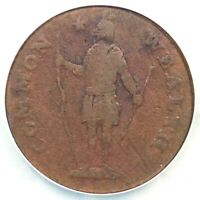 1788 13-N R-4 NCS GENUINE NO PERIOD MASSACHUSETTS CENT COLONIAL COPPER COIN