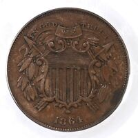 1864 TWO CENT 2C PCGS CERTIFIED EXTRA FINE 45 SMALL MOTTO COPPER TWO CENT PIECE