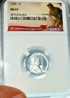 1943 LINCOLN CENT GRADED MINT STATE 67 BY NGC IN A 75TH ANNIVERSARY HOLDER WWII ERA