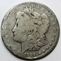 1894, $1, MORGAN SILVER DOLLAR - G, UNGRADED, DINGS TO THE RIM