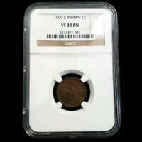 1909 S US INDIAN HEAD PENNY 1 CENT NGC VF 30 BN KEY DATE COL