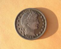 U.S. SILVER 1893 P BARBER QUARTER   CHOICE TONED AU KILLER C