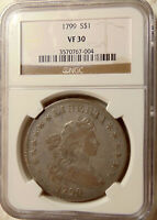 1799 DRAPED BUST SILVER DOLLAR - NGC VF30 -   LOOKING COIN