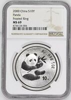 2000 CHINA 10 YUAN FROSTED RING SILVER PANDA COIN NGC/NCS MINT STATE 69 CONSERVED &