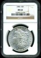1892 $1 MORGAN SILVER DOLLAR MINT STATE 62 NGC 3289512-034