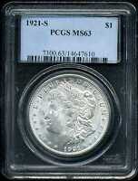 1921-S $1 MORGAN SILVER DOLLAR MINT STATE 63 PCGS 14647610