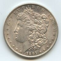 1891-S MORGAN SILVER DOLLAR AU DECENT LUSTER 10874