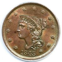 1843 N-4 PCGS MINT STATE 64 BN PETITE HEAD LG LT BRAIDED HAIR LARGE CENT COIN 1C
