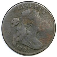 1803 S-249 R-2 1/000 DRAPED BUST LARGE CENT COIN 1C