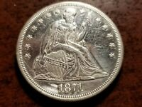 1871 SEATED LIBERTY SILVER DOLLAR, UNC. DETAILS    INV09   S1117