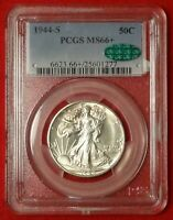 1944-S 50C PCGS MINT STATE 66 CAC GEM PLUS UNCIRCULATED WALKING LIBERTY HALF DOLLAR COIN